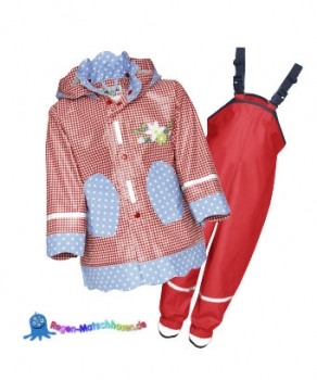"Playshoes Kinder Regenanzug im Landhausstil ""Sweety"" in Rot/Blau"