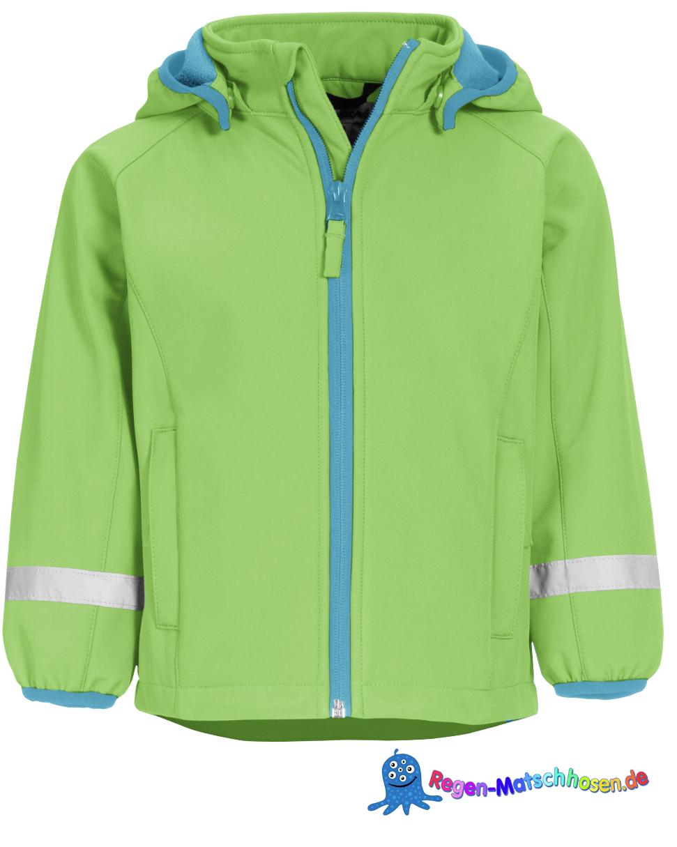 Kinder Softshelljacke in Grün Unifarben