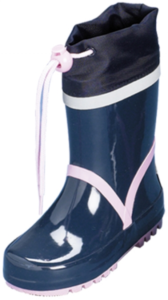 "Sale:Kinder Gummistiefel ""Basic"" von Playshoes in Marine/Rosa"